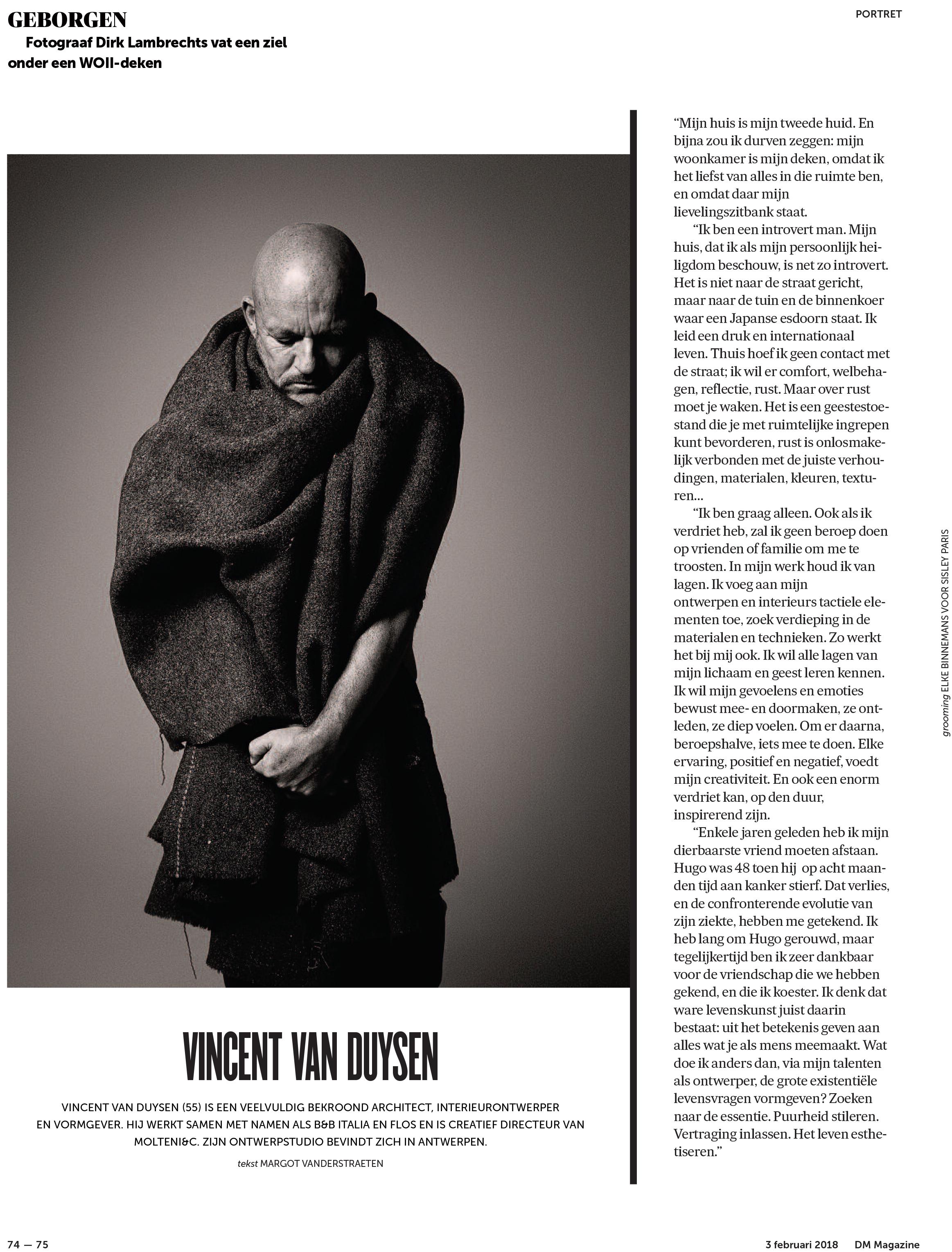 PUB_2018_De Morgen Magazine_Vincent Van Duysen