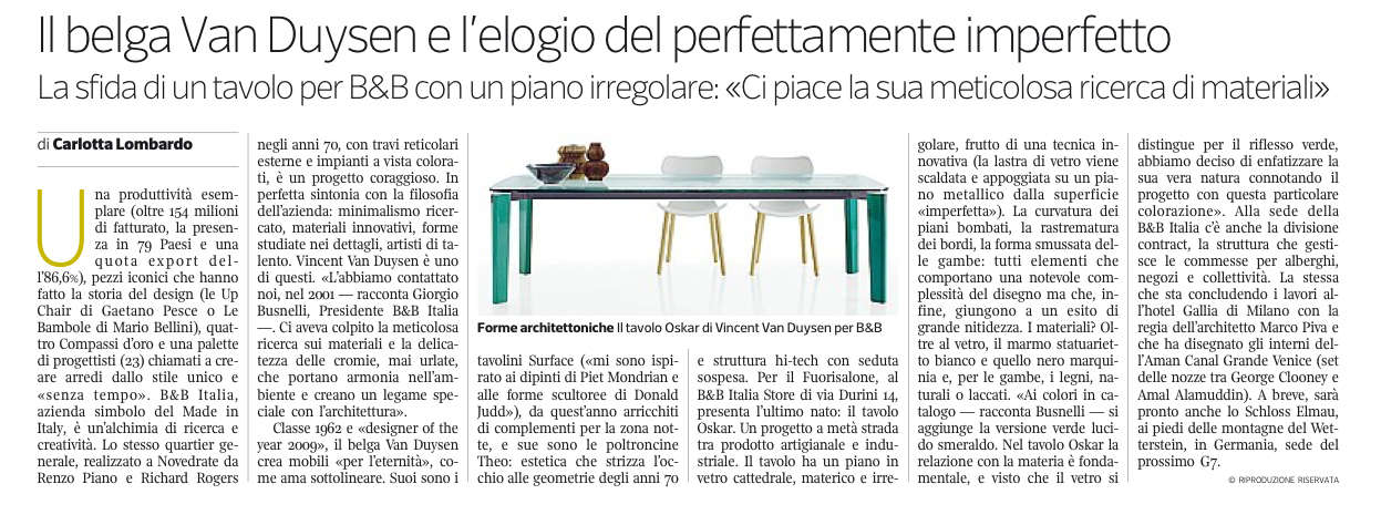 Oskar Table For B B Italia Featured In Corriere Della Sera En